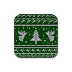 Ugly Christmas Sweater Rubber Square Coaster (4 Pack)