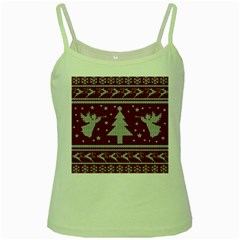 Ugly Christmas Sweater Green Spaghetti Tank