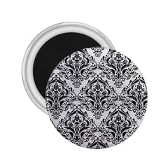 Damask1 Black Marble & White Leather 2 25  Magnets