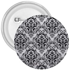 Damask1 Black Marble & White Leather 3  Buttons