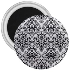 Damask1 Black Marble & White Leather 3  Magnets