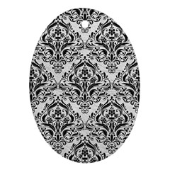 Damask1 Black Marble & White Leather Ornament (oval)