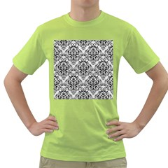 Damask1 Black Marble & White Leather Green T Shirt