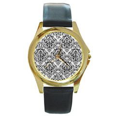 Damask1 Black Marble & White Leather Round Gold Metal Watch