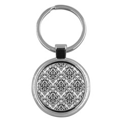 Damask1 Black Marble & White Leather Key Chains (round)