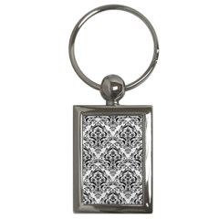 Damask1 Black Marble & White Leather Key Chains (rectangle)
