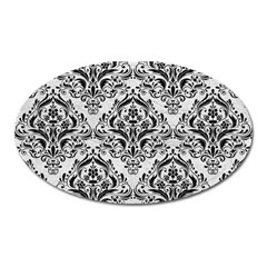 Damask1 Black Marble & White Leather Oval Magnet