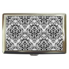 Damask1 Black Marble & White Leather Cigarette Money Cases