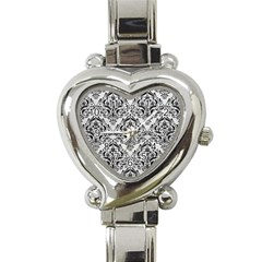 Damask1 Black Marble & White Leather Heart Italian Charm Watch