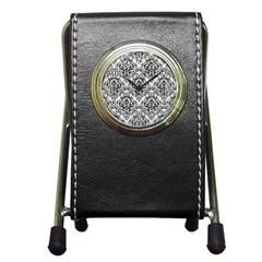 Damask1 Black Marble & White Leather Pen Holder Desk Clocks