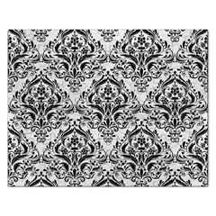 Damask1 Black Marble & White Leather Rectangular Jigsaw Puzzl