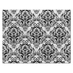DAMASK1 BLACK MARBLE & WHITE LEATHER Rectangular Jigsaw Puzzl Front