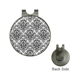 Damask1 Black Marble & White Leather Hat Clips With Golf Markers
