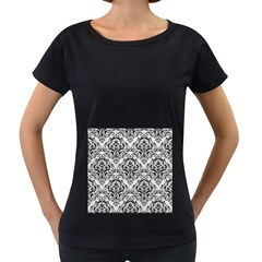 Damask1 Black Marble & White Leather Women s Loose Fit T Shirt (black)