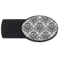 Damask1 Black Marble & White Leather Usb Flash Drive Oval (4 Gb)