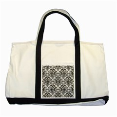 Damask1 Black Marble & White Leather Two Tone Tote Bag