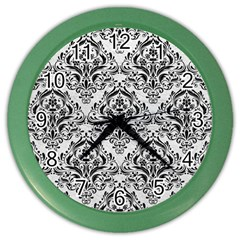 Damask1 Black Marble & White Leather Color Wall Clocks