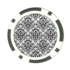 Damask1 Black Marble & White Leather Poker Chip Card Guard
