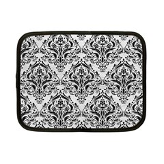 Damask1 Black Marble & White Leather Netbook Case (small)
