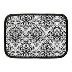 Damask1 Black Marble & White Leather Netbook Case (medium)
