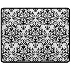 Damask1 Black Marble & White Leather Fleece Blanket (medium)