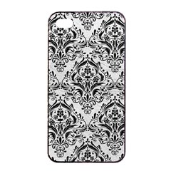 Damask1 Black Marble & White Leather Apple Iphone 4/4s Seamless Case (black)