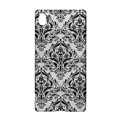Damask1 Black Marble & White Leather Sony Xperia Z3+