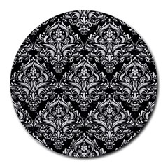 Damask1 Black Marble & White Leather (r) Round Mousepads
