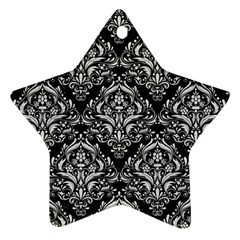 Damask1 Black Marble & White Leather (r) Ornament (star)