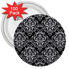 Damask1 Black Marble & White Leather (r) 3  Buttons (100 Pack)
