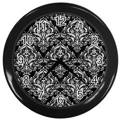 Damask1 Black Marble & White Leather (r) Wall Clocks (black)