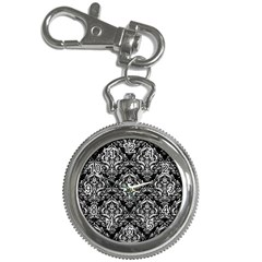 Damask1 Black Marble & White Leather (r) Key Chain Watches