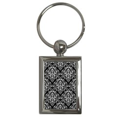 Damask1 Black Marble & White Leather (r) Key Chains (rectangle)