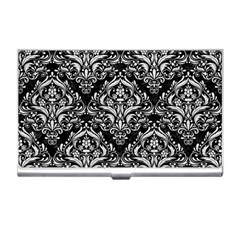 Damask1 Black Marble & White Leather (r) Business Card Holders