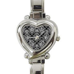 Damask1 Black Marble & White Leather (r) Heart Italian Charm Watch