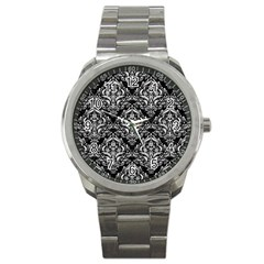 Damask1 Black Marble & White Leather (r) Sport Metal Watch