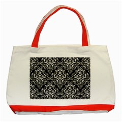 Damask1 Black Marble & White Leather (r) Classic Tote Bag (red)