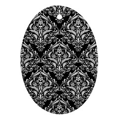 Damask1 Black Marble & White Leather (r) Oval Ornament (two Sides)