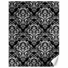 Damask1 Black Marble & White Leather (r) Canvas 12  X 16