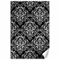 Damask1 Black Marble & White Leather (r) Canvas 24  X 36