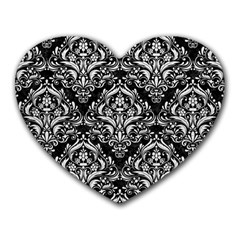 Damask1 Black Marble & White Leather (r) Heart Mousepads