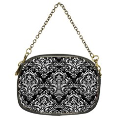 Damask1 Black Marble & White Leather (r) Chain Purses (one Side)
