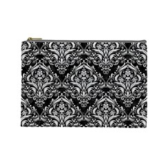 Damask1 Black Marble & White Leather (r) Cosmetic Bag (large)