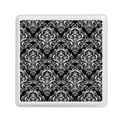 Damask1 Black Marble & White Leather (r) Memory Card Reader (square)