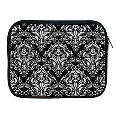 Damask1 Black Marble & White Leather (r) Apple Ipad 2/3/4 Zipper Cases