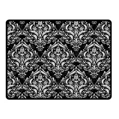 Damask1 Black Marble & White Leather (r) Double Sided Fleece Blanket (small)