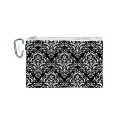 Damask1 Black Marble & White Leather (r) Canvas Cosmetic Bag (s)