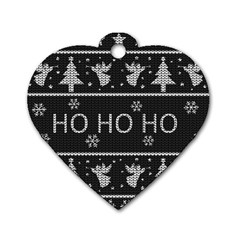 Ugly Christmas Sweater Dog Tag Heart (two Sides)
