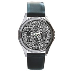 Damask2 Black Marble & White Leather Round Metal Watch