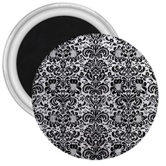 Damask2 Black Marble & White Leather 3  Magnets